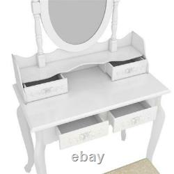 4 Drawers Tri-fold Mirror Dresser with Dressing Stool 360° Rotation Make up Table
