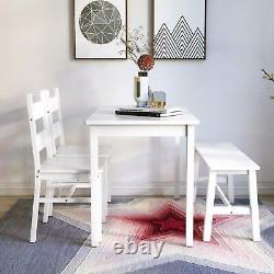 4-Piece Dining Table Set Solid Wood with 2 Chairs & Bench for Kitchen White
