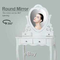 4 drawers Makeup Vanity Set Dressing table withHeart-Shaped Mirror, Stool White