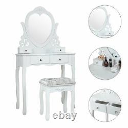 4 drawers Vanity Set Makeup Dressing table withHeart-Shaped Mirror, Stool White