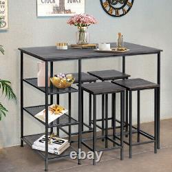 5 Piece Counter Dining Table Set Bar Pub Table with 4 Bar Stools for Home Use