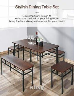 5 Piece Dining Set Kitchen Table and Chair Furniture with bench Wood 43.3L