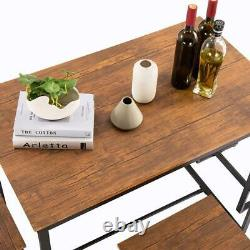 5 Piece Metal Dining Table Set 4 Chairs Wood Kitchen Room Breakfast Furniture