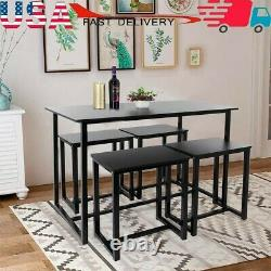 5-Piece Wood Compact Kitchen Dining Room Table And 4 Stools Home Space Saving
