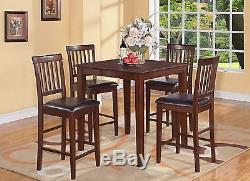 5pc counter height pub set table + 4 bar stool wood chairs in buttermilk cherry