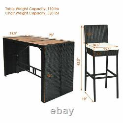 7PCS Rattan Wicker Bar Set Patio Dining Furniture with Wood Table Top 6 Stools