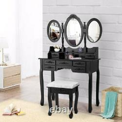 7 Drawers Vanity Makeup Table Chic Dressing Desk Set with Cushion Stool Black