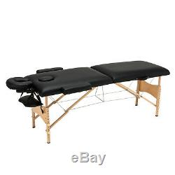 84L Portable Foldable Massage Table Facial SPA Bed WithStool Swivel Chair Black