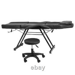 Adjustable Beauty Salon SPA Massage Bed Tattoo Chair with Stool Black US