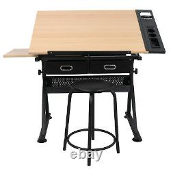 Adjustable Drafting Drawing Table Craft Tiltable Tabletop with Stool Cozy Stool