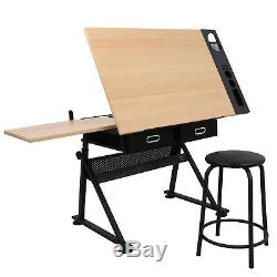 Adjustable Drafting Table With Stool 9 Levels of Angle & 6 Levels of Height EZ Set