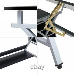 Adjustable Drawing Desk Drafting Table MDF Top Art Craft with Drawers and Stool
