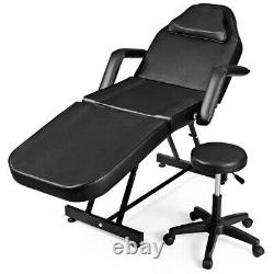 Adjustable Tattoo Massage Table Bed Facial Beauty Barber Chair with Stool Black