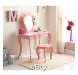 Amelia Children Girls Wooden Pink Vanity Set Dressing Table With Mirror /& Stool