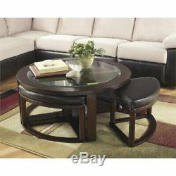 Ashley Furniture Marion Coffee Table with 4 Stools in Dark Brown