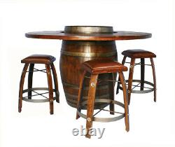 Authentic Unique Guest Large Bistro Wine Barrel Table With Rustic Bar Stools