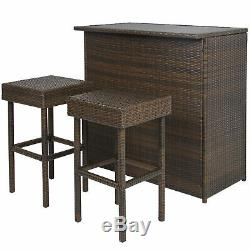 BCP 3-Piece Outdoor All-Weather Wicker Bar Table Set with 2 Stools