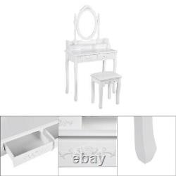 Beautiful Vanity Set With Mirror Cushioned Stool Dressing Table Gift For Makeup