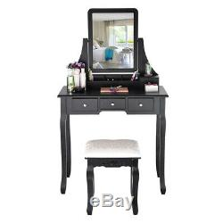 Black Dressing Table Vanity Makeup Desk with5 Drawers Mirror Set and Stool