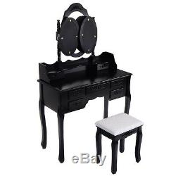 Black Tri Folding Oval Mirror Wood Vanity Makeup Table Set with Stool &7 Drawers