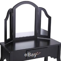 Black Vanity Makeup Dressing Table Set Jewelry Desk With Stool Drawer Classic