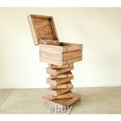 Book Stack table Storage lamp table stool wood coffee table 74cm high cube side