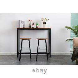 Brown 3 Piece Bar Stool Dining Kitchen Counter Height Chair Pub Table Furniture