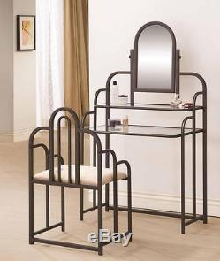 Cappuccino Finish Vanity Table and Stool Set with Mirror by Coaster 300180