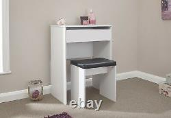 Classic Compact Dressing Vanity Makeup Table Faux Leather Stool Set White