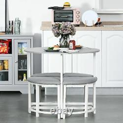 Classic Dining Table Set Compact Space Saving Furniture Padded Stool Chairs Grey