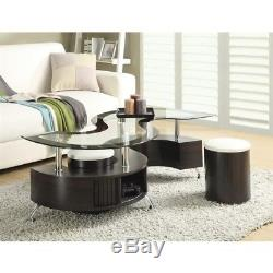 Coaster Coffee Table with Stools in Cappuccino