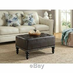 Cocktail Tufted Ottoman Sofa Couch Foot Stool Bench Reststool Coffee Table Brown