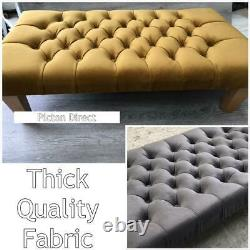 Coffee Table Upholstered Chesterfield Footstool Pouffe Foot Stool Seat Plush