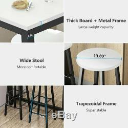 Counter Height 3 Piece Pub Table Set With Bar Stools for Break Room Wine Cellar