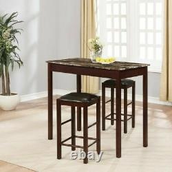 Dinette Set 3Pc Table Stools Counter Height Bar Tavern Small Spaces Kitchen Nook