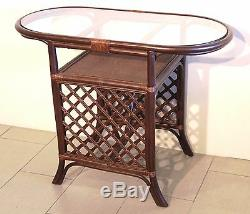 Dining Borneo Set of Oval Table withGlass Top 2 Chairs Natural Rattan, Dark Brown