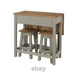 Dining Breakfast Set With Grey Solid Pine Extendable Table & 2 Dining Chairs