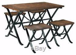 Dining Room Table And Chairs Dinner Set Brown Wood Top Kitchen Dinette Stools