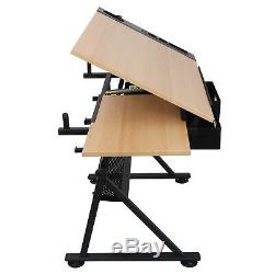 Drafting Desk Drawing Table Adjustable with Stool Arts & Crafts Creative Center
