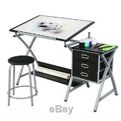 Drafting Drawing Table Art Desk Adjustable Craft Table with Storage Drawers&Stool