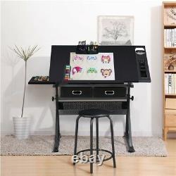Drafting Table Adjustable Drawing Art Craft Writing Desk for Artists withStool