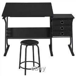 Drafting Table Art Desk For Artists Tilting Tabletop with3 Drawers & Stool Black