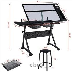 Drafting Table Height Adjustable Art Desk with Stool Tilting Glass Tabletop