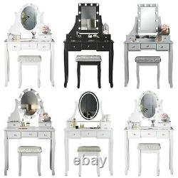 Dressing Table with Vanity Mirror Hollywood Lights Drawers & Stool Set Jewellery