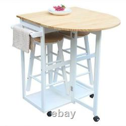 Durable 3 Pcs Folding Table Rolling Kitchen Island Cart Wood with 2 Stools White