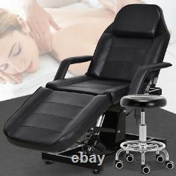 Electric Hydraulic Massage Table Spa Salon Tattoo Bed Barber Chair withStool Black