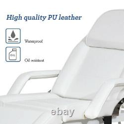 Electric Hydraulic Massage Table Spa Salon Tattoo Bed Barber Chair withStool White