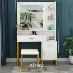 Elegant Lighted Makeup Table Vanity + Stool Set with Drawers Cabinet and Shelves