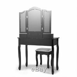 Elegant Vanity Makeup Dressing Table Set with Stool Removable Mirror 4 Drawers