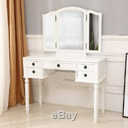FCH Dresser Three-Fold Square Mirror Drawers Table Stool Makeup Desk White